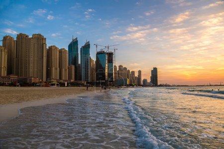 Dubai marina at summer sunset