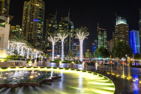 Photo for Dubai marina in a summer night, Dubai, United Arab Emirates - Royalty Free Image