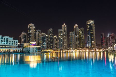 Photo for Dubai downtown at night, United Arab Emirates - Royalty Free Image