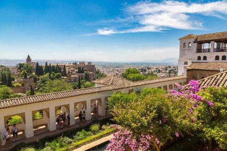 Gardens in Alhambra palace in Granada