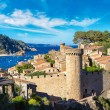 Beach at Tossa de Mar and fortress in beautiful su...