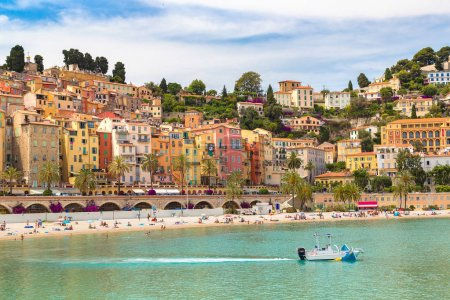 Colorful old town and beach in Menton