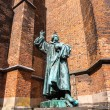 Statue of Martin Luther next to church Marktkirche...