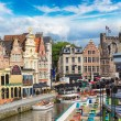 Canal in old town in Gent, beautiful summer day, B...