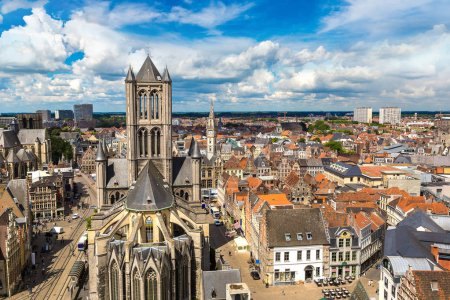 Panoramic aerial view of Gent in beautiful summer ...