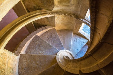 Spiral staircase in Templar castle