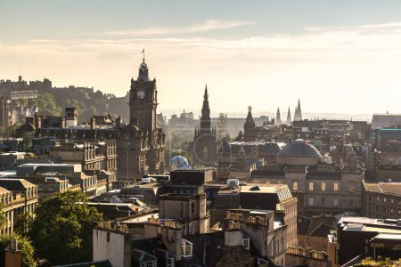 Photo for Panoramic view of Edinburgh castle from Calton Hill, Scotland, United Kingdom - Royalty Free Image