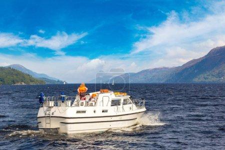 Boat on Loch Ness lake