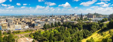 Photo for Panoramic aerial view of Edinburgh in a beautiful summer day, Scotland, United Kingdom - Royalty Free Image