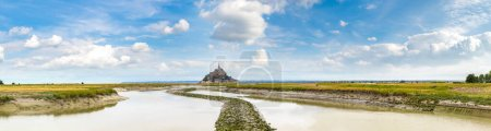 Photo for Panorama of Mont Saint Michele abbey in a beautiful summer day, France - Royalty Free Image