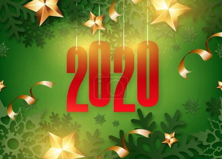 Photo for Abstract New Year 2020 banner design with 3d snowflakes stars with shadows - Royalty Free Image