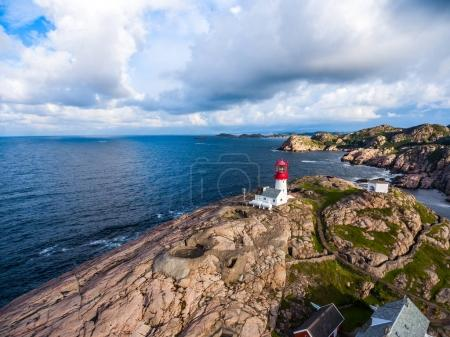 Photo for Lindesnes Fyr Lighthouse, Beautiful Nature Norway natural landscape aerial photography. - Royalty Free Image