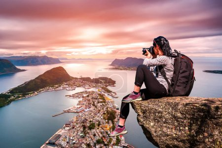Nature photographer - Aksla at the city of Alesund , Norway.