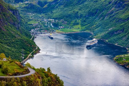 Photo for Geiranger fjord, Beautiful Nature Norway. It is a 15-kilometre (9.3 mi) long branch off of the Sunnylvsfjorden, which is a branch off of the Storfjorden (Great Fjord). - Royalty Free Image