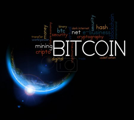 Photo for Crypto currency bitcoin concept. Earth with Rising Sun illustration. Copy space for your text - Royalty Free Image
