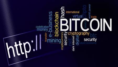 Photo pour Nuage de mot Bitcoin sur l'écran d'ordinateur - image libre de droit