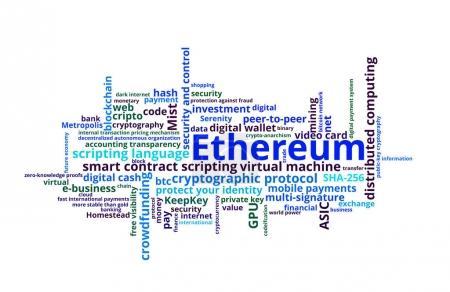 Photo pour Ethereum crypto mot de monnaie nuage sur blanc - image libre de droit