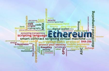 Photo pour Ethereum crypto devise mot nuage sur fond abstrait bleu courbé mouvement - image libre de droit