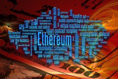 Photo pour Ethereum crypto monnaie mot nuage sur fond abstrait rouge et dollar mouvement - image libre de droit