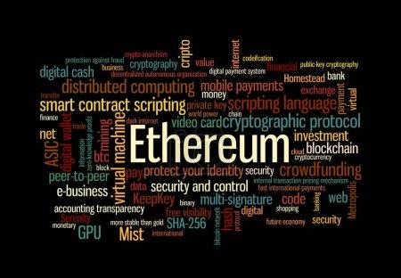 Photo pour Ethereum crypto mot de monnaie nuage sur noir - image libre de droit