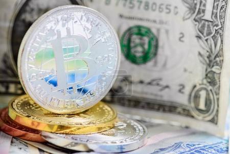 bitcoin coin over money