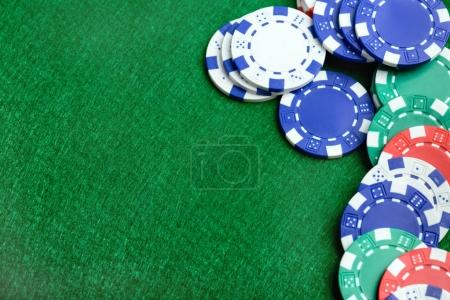 Casino table and poker chips