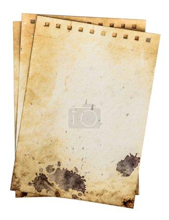 Photo pour Pages sales de cahier. Ancien modèle de papier grunge rugueux avec des gouttes et un motif de fissure sale. Chemin de travail - image libre de droit