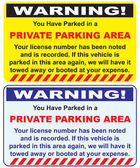 Two warnings options private parking area Vector