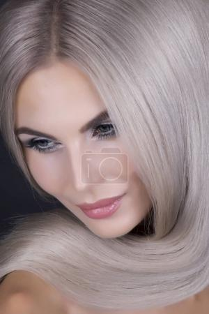 Perfect shiny cold blonde hair