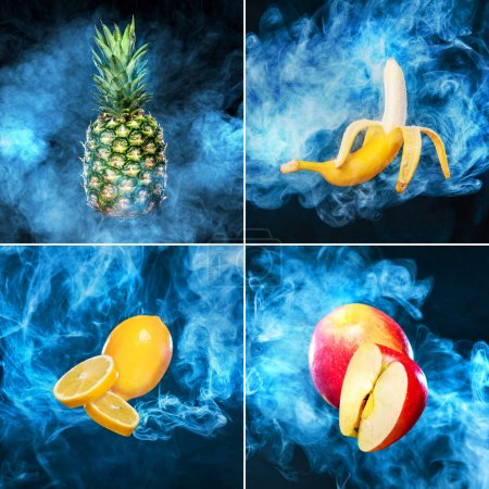 Collage of fruits on dark background with smoke from Electronic Cigarette for vape ads