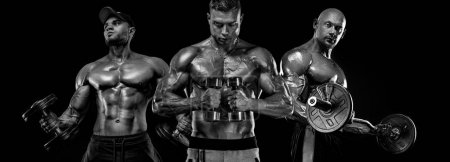Photo for Bodybuilder posing. Beautiful sporty guy male power. Fitness muscled man - Royalty Free Image