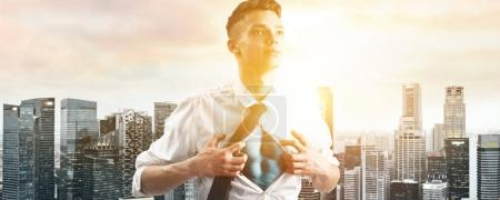 Business super hero hover over city skyline