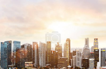 Photo for Blurred panoramic view of Singapore downtown and skyline at sunset. - Royalty Free Image