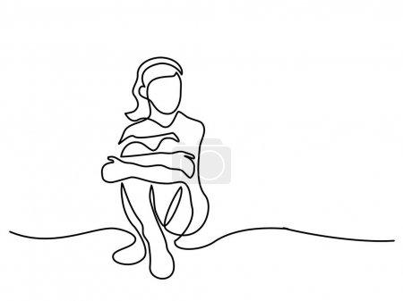 Illustration pour Dessin en continu. Assis belle fille. Illustration vectorielle - image libre de droit