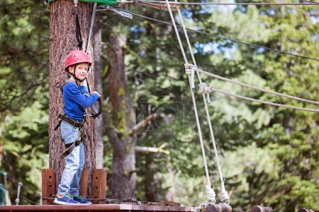 smiling little boy climbing in treetop adventure park, healthy active lifestyle concept