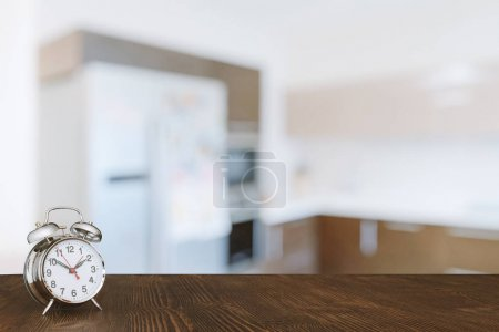 clock on wooden table