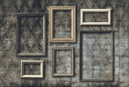 Set of old photo frames on retro wallpaper