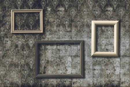 Photo for Vintage photo frames on old retro wallpaper - Royalty Free Image