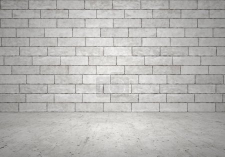 Photo for Empty interior, brick wall, cement floor - Royalty Free Image