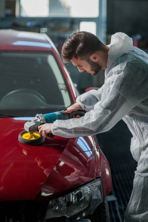Photo for A series of detailed cars: Polishing a car - Royalty Free Image