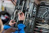 Keys for car repair in a car workshop