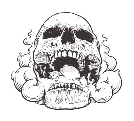 Illustration for Smoking Skull Art.Tattoo style vector illustration of skull with smoke coming from his mouth. Black line art isolated on white. - Royalty Free Image