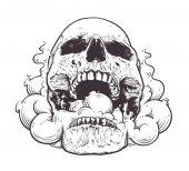 Smoking Skull Art