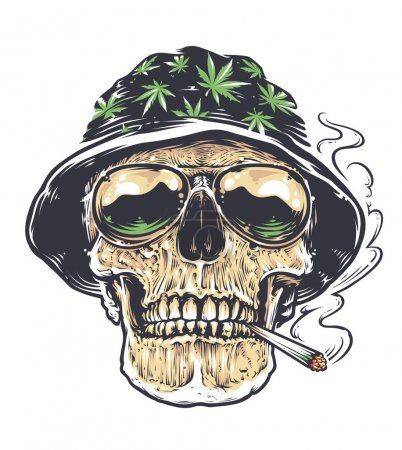 Illustration for Rastaman Skull vector art. Skull in hat with cannabis leafs and in suglasses holds smoking joint in his mouth. Tattoo style colored illustration isolated on white. - Royalty Free Image
