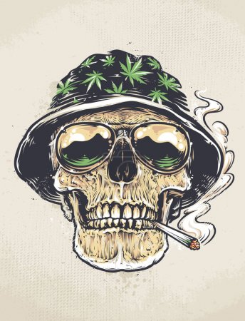 Illustration for Rastaman Skull vector art. Skull in hat with cannabis leafs and in suglasses holds smoking joint in his mouth. Grunge weathered painting. - Royalty Free Image