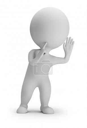 Photo for 3d small person in an eavesdropping posture. 3d image. White background. - Royalty Free Image