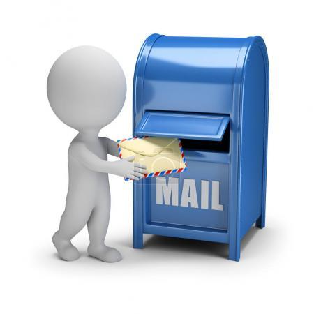 Photo for 3d small person drops the letter into the mailbox. 3d image. White background. - Royalty Free Image