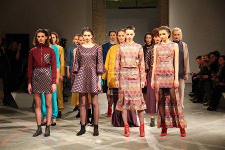Photo for KYIV, UKRAINE - FEBRUARY 7, 2017: Models walk the runway at Maryana Steshenko's LAKSMI collection show during the 40th Ukrainian Fashion Week at Mystetsky Arsenal in Kyiv - Royalty Free Image