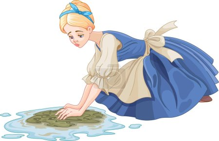 Illustration for Sad Cinderella cleaning the floor with floor cloth - Royalty Free Image