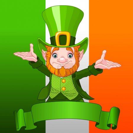 Illustration for Illustration of joyful leprechaun on Ireland flag background - Royalty Free Image